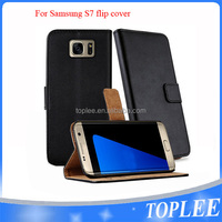 hot sale PU leather wallet flip cover for samsung S7 case