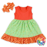 new model cotton sleeveless green gold arrow 3 year old girl dress