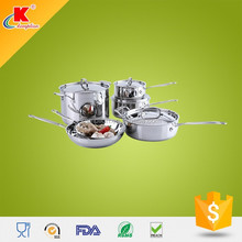 Capsule bottom stainless steel cookware set with casting handles and knob