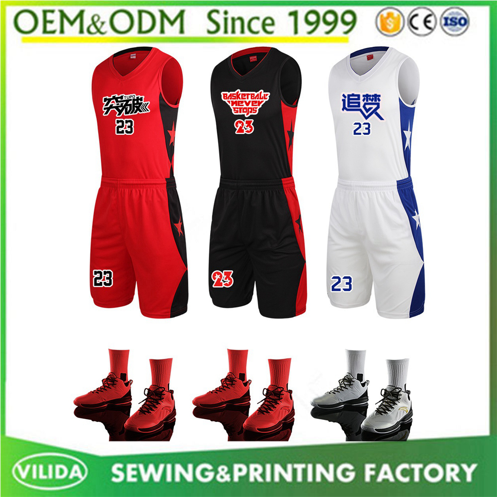 Latest design basketball uniform and shorts reversible basketball jerseys cheap custom