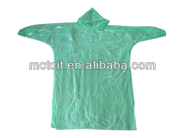 Disposable waterproof plastic rain poncho