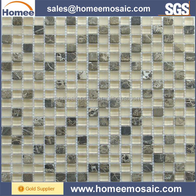 Dark & Light Emperador Marble Mix Glass Mosaic Tile