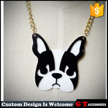 Fashion Lovely Black And White Dog Head Pendant Necklace Lucky Charm Animal Jewelry