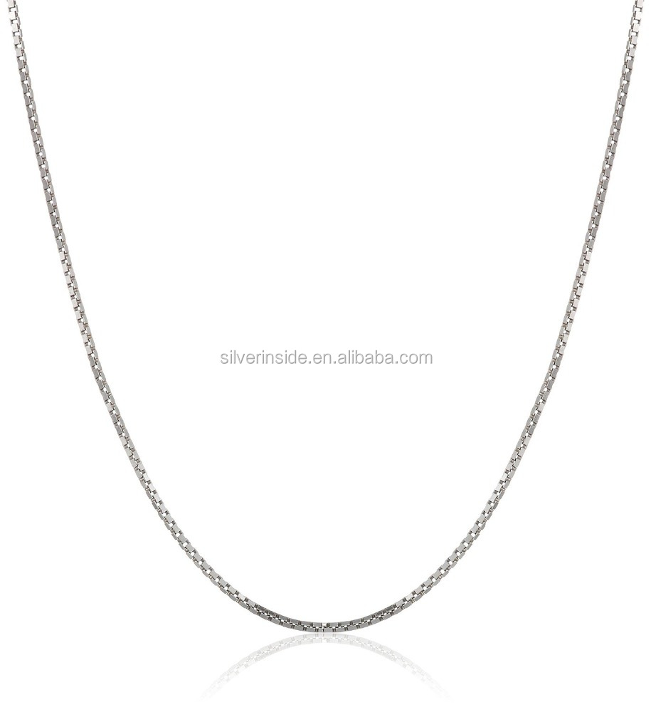 "925 Sterling Silver 1mm Box Chain Necklace, 14"" - 36"""