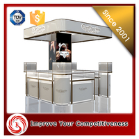 Modern shopping mall jewelry kiosk design glass display counter