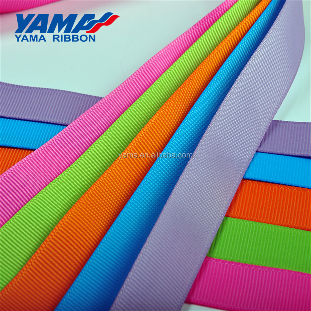 Yama factory customized accepted polyester solid color 100 yards/roll large stocked 16 MM grosgrain ribbon