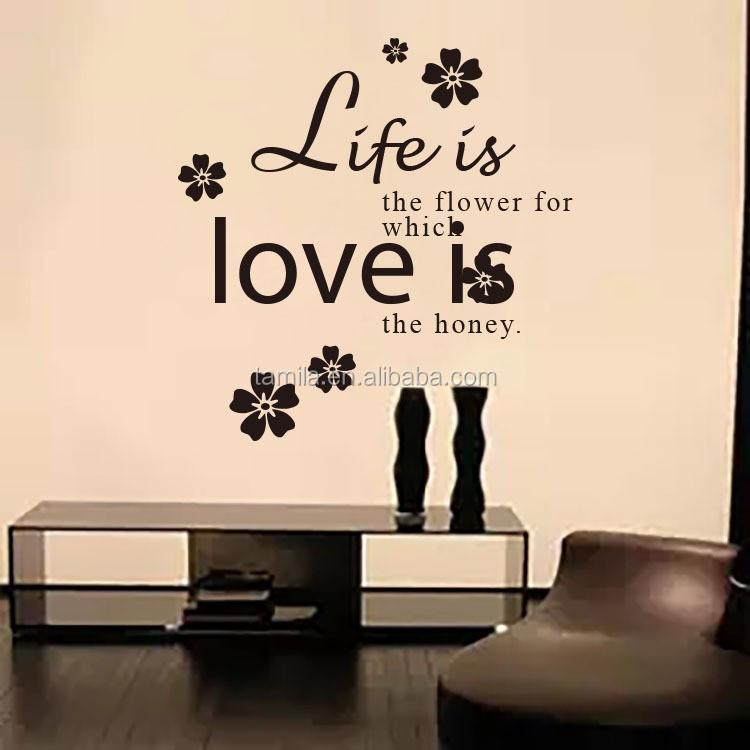 Wholesale home and Family wall stickers home decor romantic word flower wall decals for living room