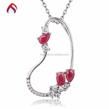 Simple design large heart shaped cz silver pendant for girlfriend