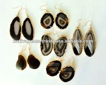 DANGLE AGATE SLICE EARRING