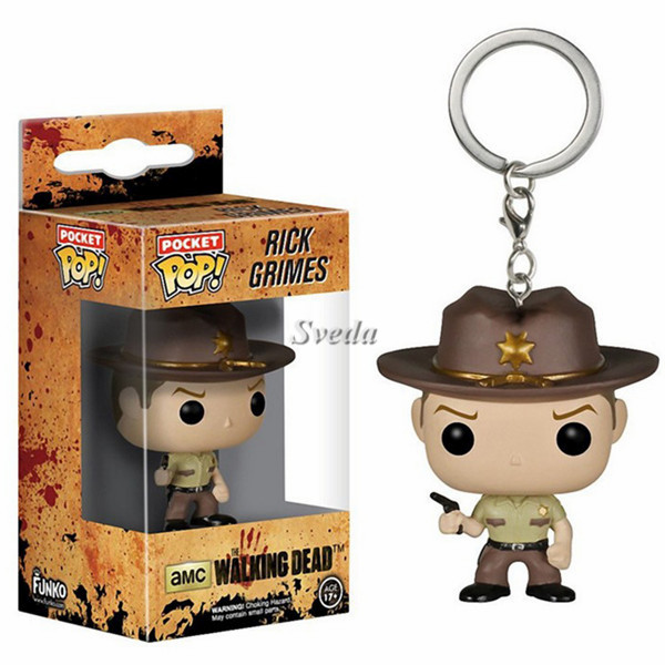 Sveda Newest Pocket POP keychain Walking Dead Rick Grimes,Mini PVC figure keychain, POP keychain cheap price