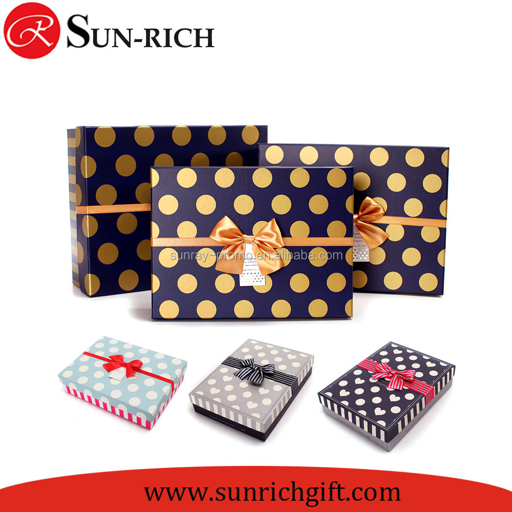 Top selling dot printed gold cardboard gift boxes for presents with ribbon bows decoration
