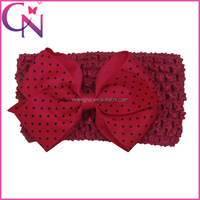 Mini Polka Dots Hair Bow Crochet Headband For Baby Girl