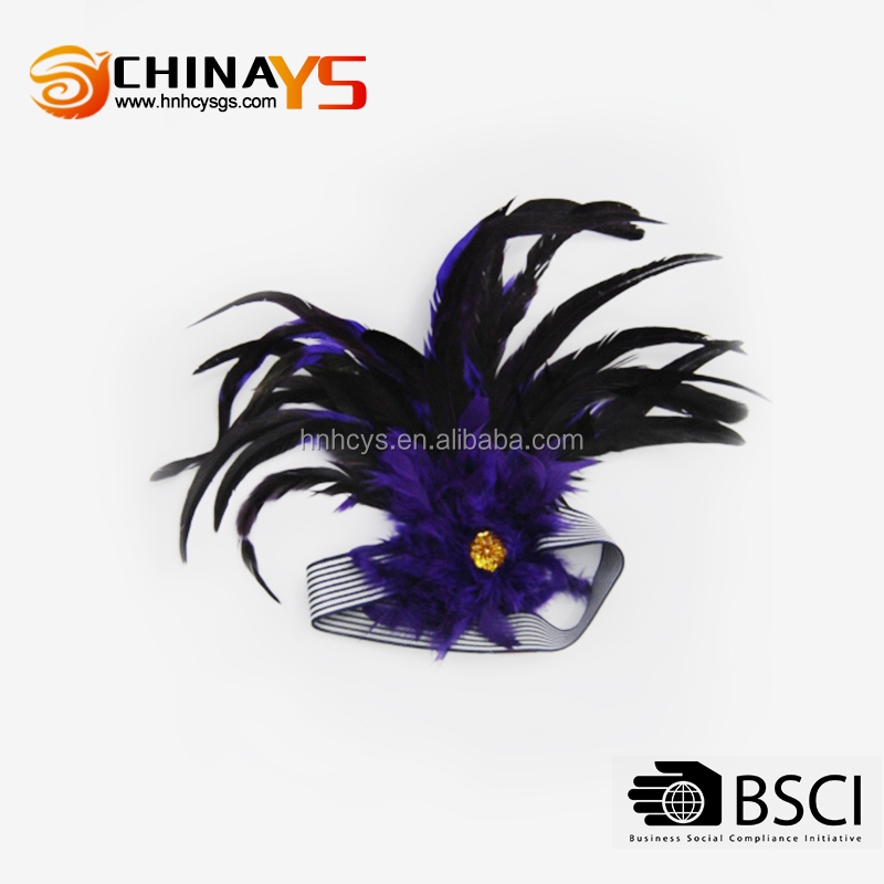 christmas ornaments high quality new designed female attractive feather hair accessories for women