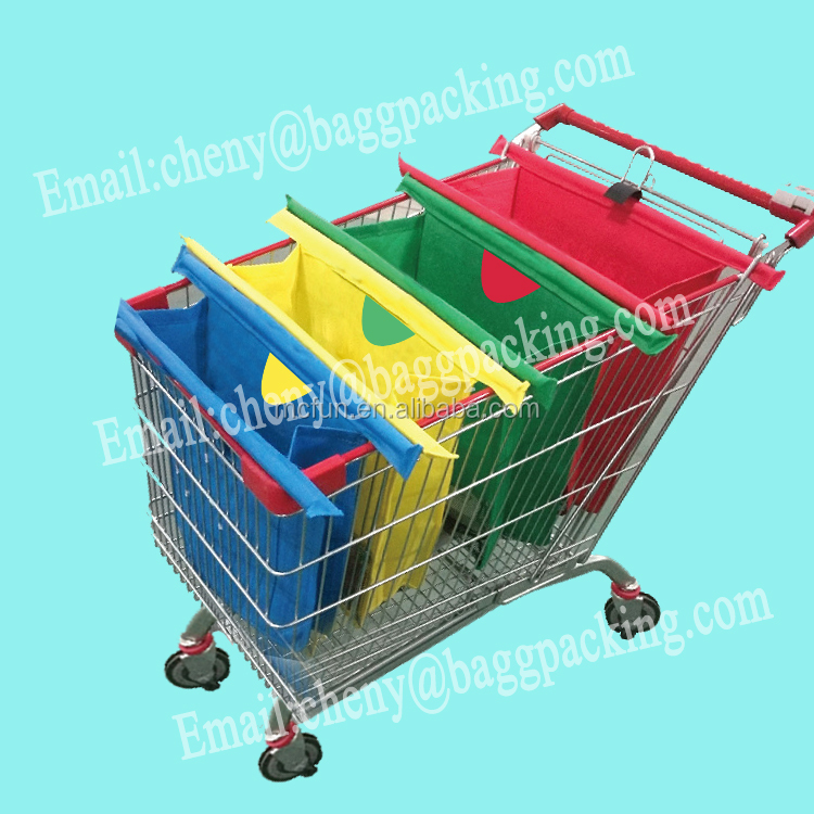 resable Set of 4 Bags Grocery Cart Shopping Trolley Bags