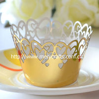 Wedding accessories laser cut cup cakes wholesale laser cut hearts glitter cupcake wrappers