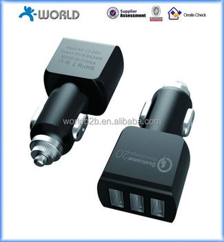 Factory price quick charge 2.0 car charger QC 2.0 3 port car charger
