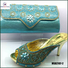 MSB2107-2 italian BLUE shoes and matching clutch bag