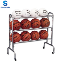 12 Ball 3 Row Basketball Cart Wide Body Portable Rolling Storage Cart Ball Rack