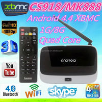 tv box XBMC google android tv box CS918 1G 8G Rk3188 External WiFi Antenna Port:USB,Micro USB,Mic