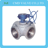 Handwheel Gear Operated 4 Way Water Stainless Steel Ball Valve