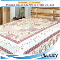 China wholesale 100% polyester brushed flower printed bedding set quilted patchwork blanket