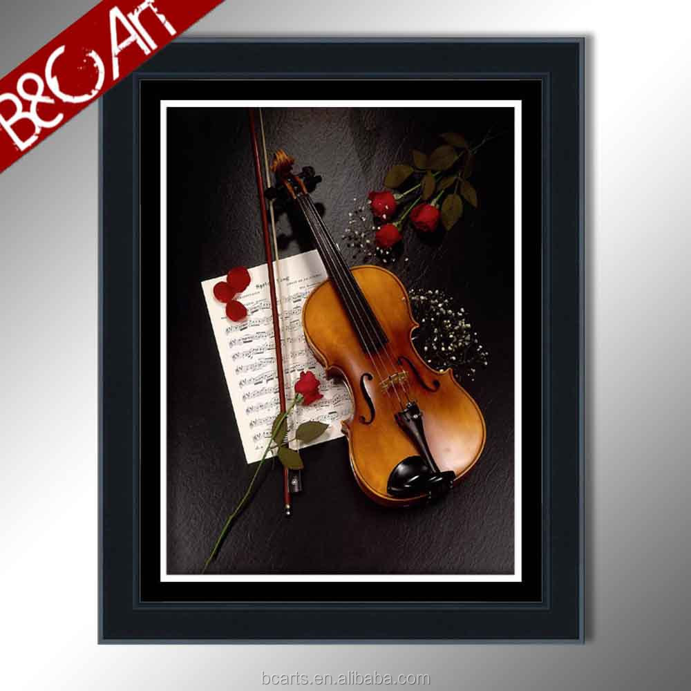 Elegant decorative pictures for bedroom red rose print photo beautiful violin and flowers oil painting