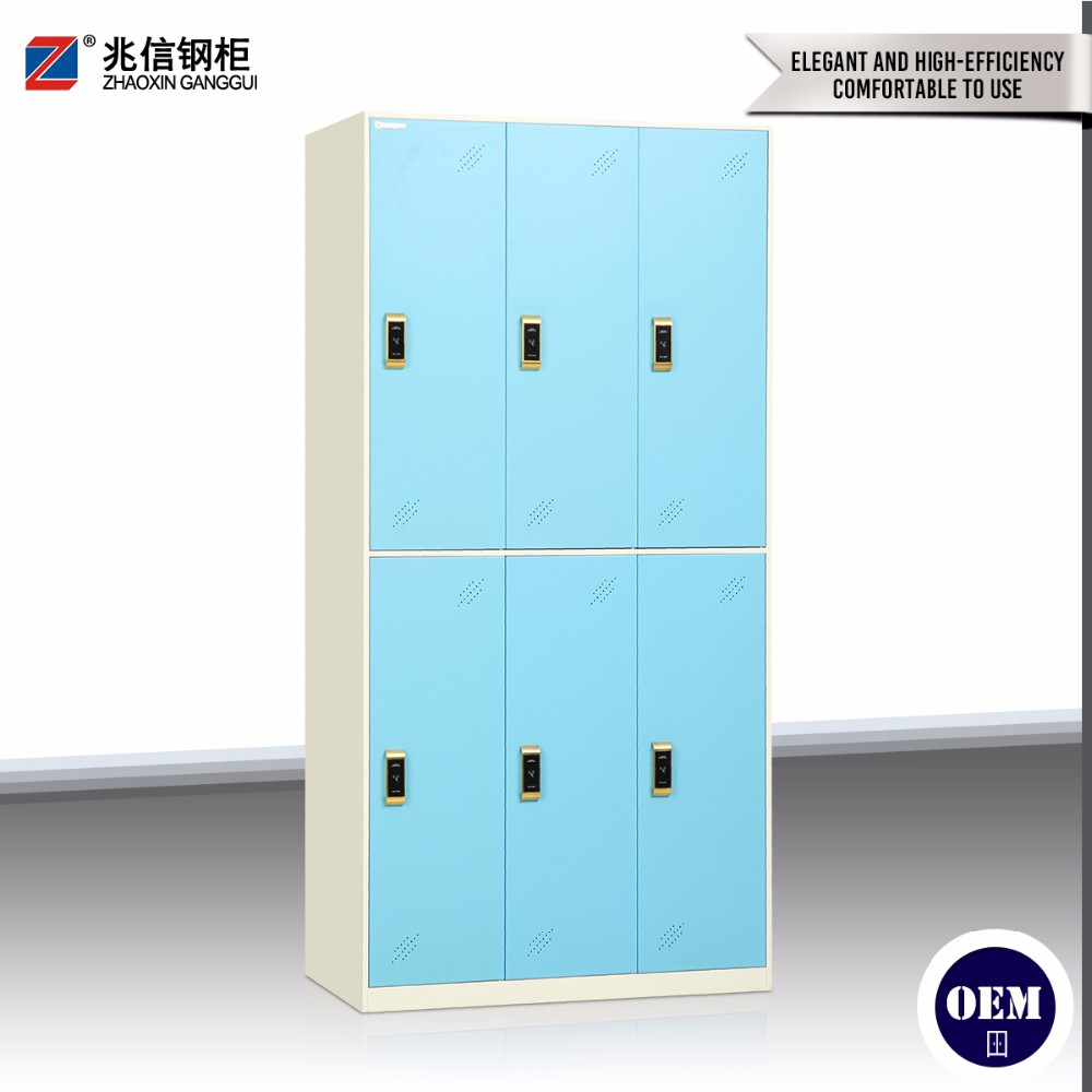 Electronic digital lock 6 door swimming pool locker / steel 6 door multi functional smart locker