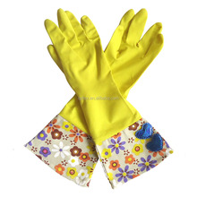 custom design with long cuff eco-friendly Sprayed / dipped lining cleaning latex gloves medical