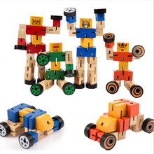 Transformable DIY Wooden magic model shape-shifting Educational robot toys