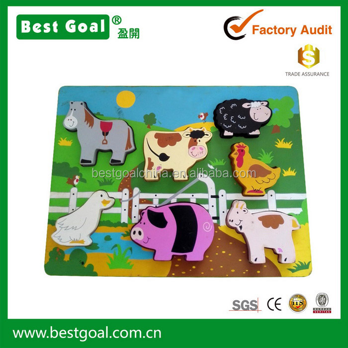 Farm Wooden Chunky Puzzle Intelligence wooden jigsaw puzzle wooden toy children puzzle