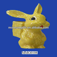 Yellow bunny rabbit west Germany rabbit figurines collectables