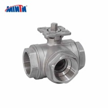 China Manufacturer Stainless steel 3 Way Ball Valve with ISO 5211 Direct Mounting Pad/Stainless steel Thread three way Ball