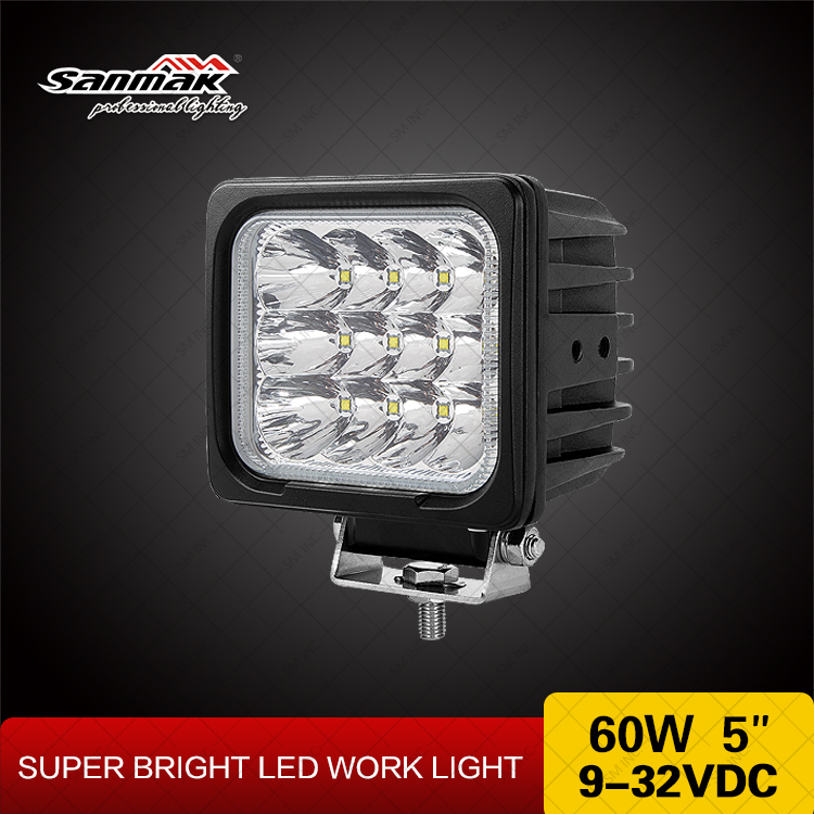 5000 lumen waterproof ip67 high quality 60w led work light for forklift tractor
