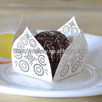 Mini Round Cake Paper Holds Greaseproof Baking Cupcake Cases Laser Hollow Out Flowers Chocolate Mini Cupcake Wrappers
