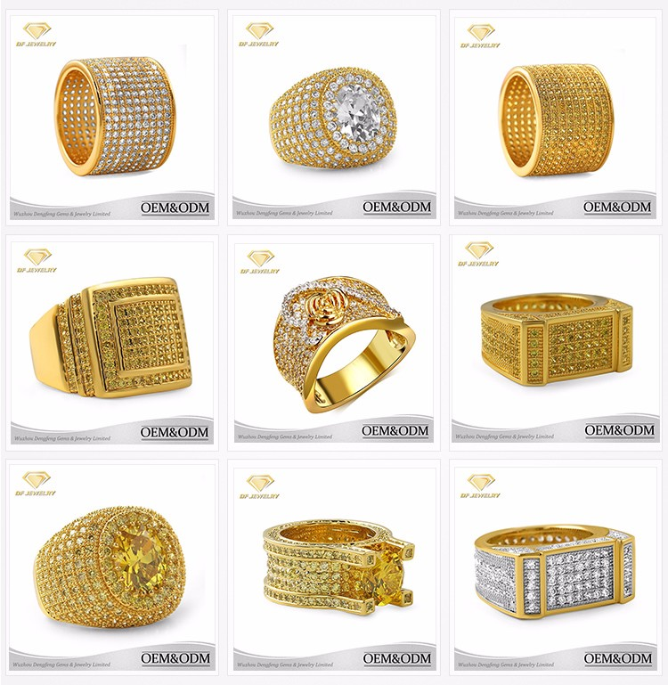 Fashion Gold Ring Design 18k Solid Gold Plated Finger Ring Fashion Silver Material Gold Ring