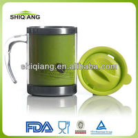 High quality 14oz stainless steel inner plastic outer coffee mugs with handle and lid