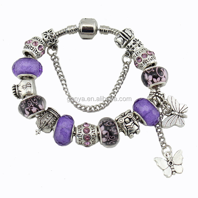 Noble Beautiful 3 Colors Blue Red Pink Crystal Beaded Jewelry Trendy Alloy Bangles Butterflies Owl Crown Bracelets Accessory
