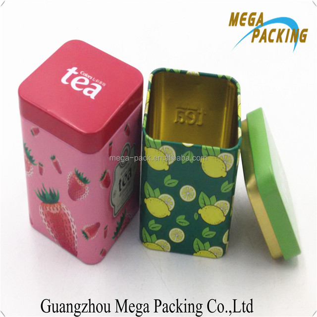 High quality square matcha metal tea packaging tin box with inside lid airtight