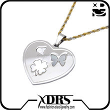 North America 316L stainless steel factory direct sales silver Four Leaf Clover with Butterfly pendant