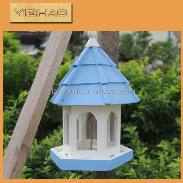 Eco-friendly FSC Hanging Wooden Bird Cage,house shaped bird cage