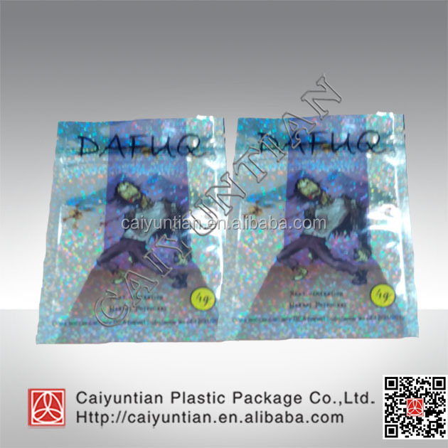 Spice bag /smoking mix packaging potpourri packaging bag with laser