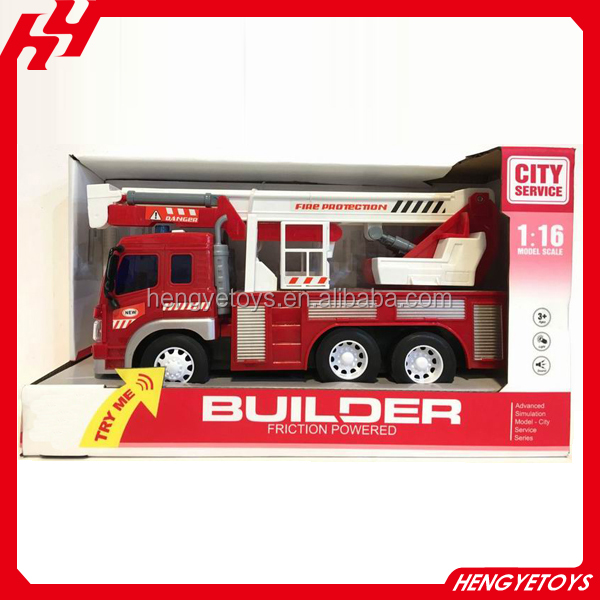 1:16 friction powered red and white fire rescue truck toy with crane excavator vehicle with light and music