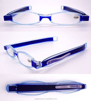 Factory custom Pocket mini plastic unisex twisty folding clear reading glasses with clip