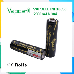 Vapcell 18650 black battery 2000mah 38A vapcell rechargeable battery high ampere test from Mooch