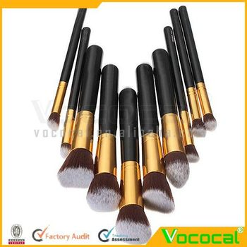 10PCS Professional Makeup Brush Tools Superior Cosmetic Brush Set Black+Gold