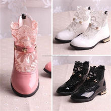 Korean Princess lace boots pink princess shoes for 10years flower Girl Dress Boots with zipper design
