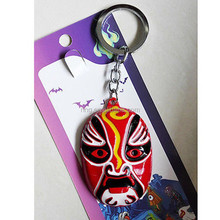 New Chinese Characteristic Beijing Opera Facial Masks Red Metal Key Chain
