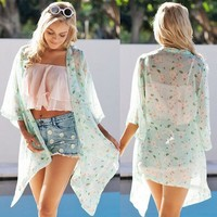 Fashion Ladies Chiffon Casual Floral Printed Sexy Women See Through Blouses SV024557