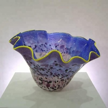 Handmade Flower Shape Colorful Murano Glass Bowl For Sale