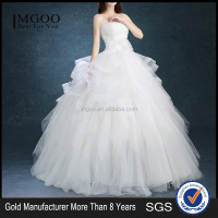 MGOO Custom Made Women White Plain Simple Wedding Dress Applique Muslim Ball Gown Ruffles Wedding Dress YDYS15B0090
